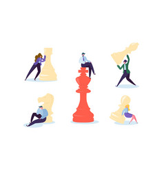 Characters playing chess business strategy concept vector