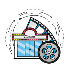 Cinema with reel scene to filmstrip vector