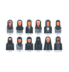 Collection of muslim traditional hijab type models vector