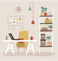 comfy office workplace with table bookcase vector image