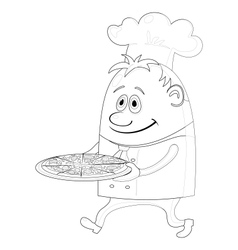 cook with pizza contour vector image