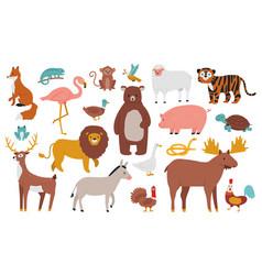 cute animals wood farm and jungle animals fox vector image