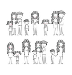 Cute family hand drawn image vector