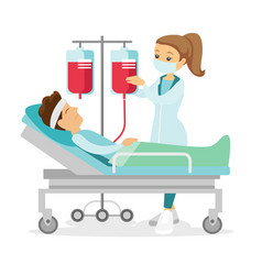Doctor visiting patient lying in hospital bed vector
