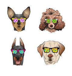 Dog wearing sunglasses year of the dog 2018 vector