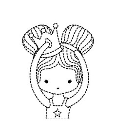 dotted shape girl practice performance with two vector image