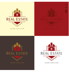 Elegant real estate and construction logo and icon vector