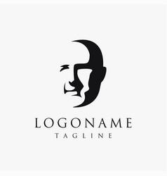 face a man logo icon template vector image