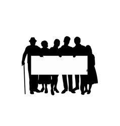 Family silhouette parents kids and grandparents vector