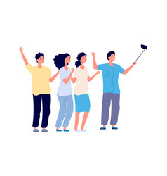 friends selfie isolated students make vlog or vector image