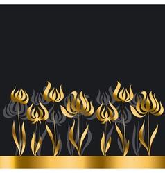 gold tulip Art Nouveau style vector image
