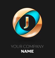 golden letter j logo symbol in blue-golden circle vector image
