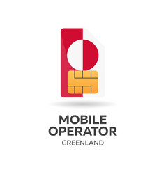 greenland mobile operator sim card with flag vector image