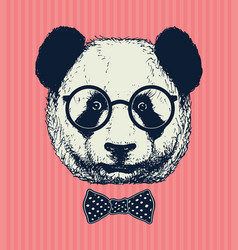 hand drawn panda with sunglasses and bow tie vector image