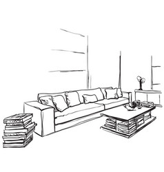 Hand drawn room interior sketch chair and window vector