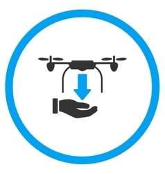 Hand unload air drone icon vector