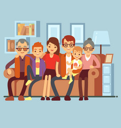 happy family sitting on sofa grandpa and grandma vector image