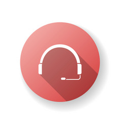 headset red flat design long shadow glyph icon vector image