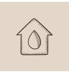 House with water drop sketch icon vector image