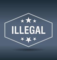 Illegal hexagonal white vintage retro style label vector