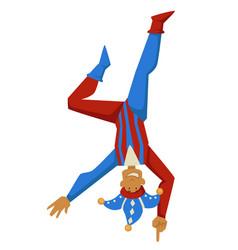 Joker or court jester standing upside down vector