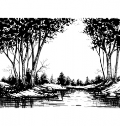Lake in birch forest vector