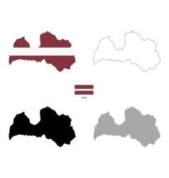 latvia country black silhouette and with flag vector image