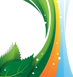 Leaves and rainbow vector image