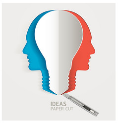 light bulb and human head icon papercut vector image