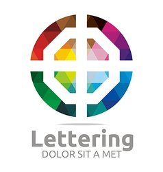 Logo Abstract Lettering O Rainbow Alphabet Icon vector image