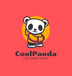 Logo cool panda simple mascot style vector