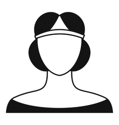 Medieval woman in tiara icon simple style vector image