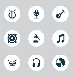 multimedia icons set with harp guitar speaker vector image