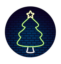 neon tree with star sticker merry christmas vector image