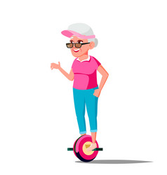 Old woman on hoverboard riding on gyro vector