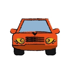 Orange car vehicle transportation front view vector