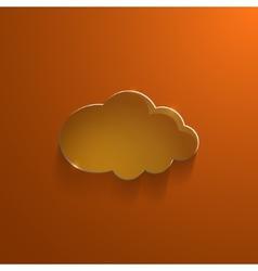 Orange eco glossy glass cloud icon vector image