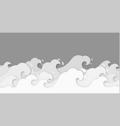 paper waves water wave cut decor vector image