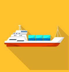 passenger cargo ship icon flat style vector image