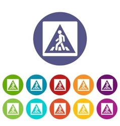 Pedestrian road sign set icons vector