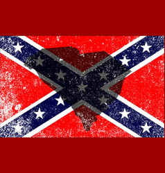 Rebel civil war flag with south carolina map vector