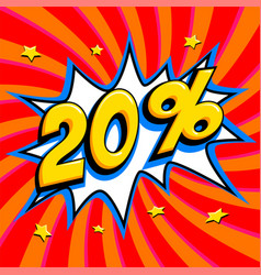 red sale web banner sale twenty percent 20 off on vector image