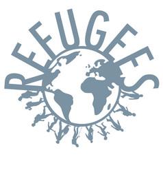 Refugee word concept around world vector