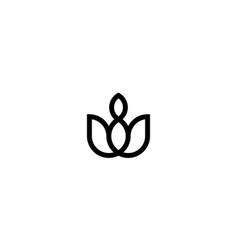 rose flower floral eco leaf line style logo design vector image