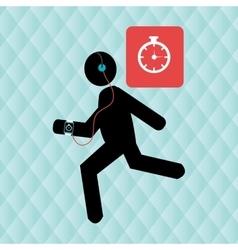 running sport headphones smartwatch vector image