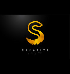 S golden gold feather letter logo icon design vector