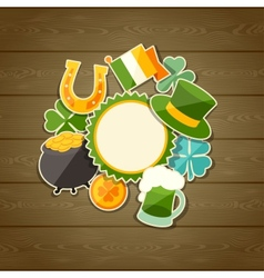 Saint Patricks Day greeting card with stickers vector image