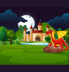 Scene with red dragon and castle vector