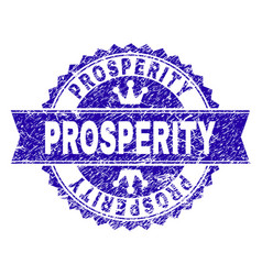 Scratched textured prosperity stamp seal with vector