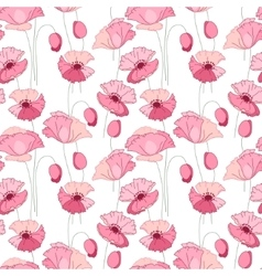 Seamless pattern with stylized cute pink poppies vector image